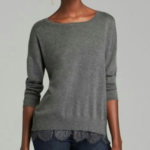 Joie Hilano Gray Cashmere Blend Lace Trim Sweater